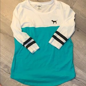 PINK Victoria's Secret Teal and White Tee Size M